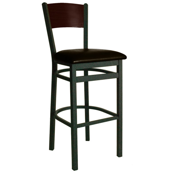 "BFM Seating 2150BDBV-WASB Dale Sand Black Metal Bar Height Chair with Walnut Finish Wooden Back and 2"" Dark Brown Vinyl Seat"