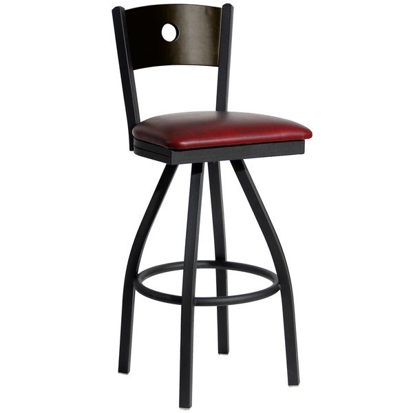 """BFM Seating 2152SBUV-WASB Darby Sand Black Metal Bar Height Chair with Walnut Wooden Back and 2"""" Burgundy Vinyl Swivel Seat Main Image 1"""