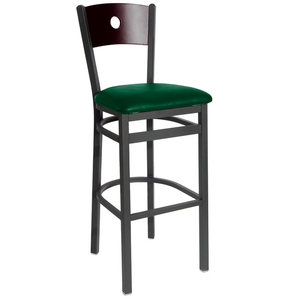 """BFM Seating 2152BGNV-MHSB Darby Sand Black Metal Bar Height Chair with Mahogany Wooden Back and 2"""" Green Vinyl Seat Main Image 1"""