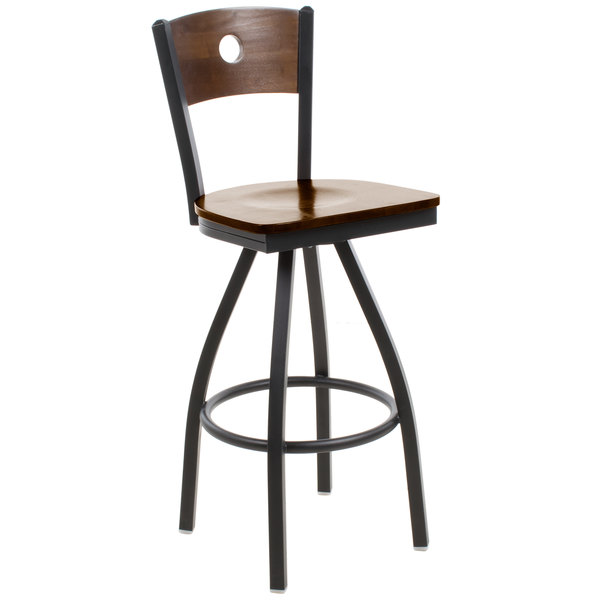 BFM Seating 2152SWAW-WASB Darby Sand Black Metal Bar Height Chair with Walnut Wooden Back and Swivel Seat