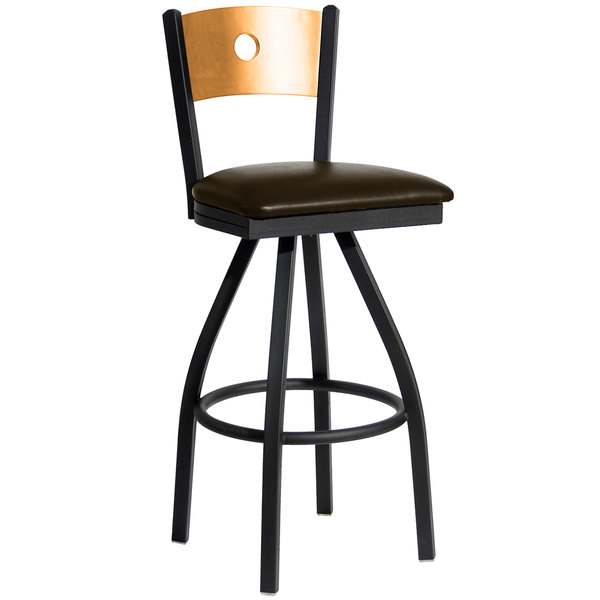 "BFM Seating 2152SDBV-NTSB Darby Sand Black Metal Bar Height Chair with Natural Wooden Back and 2"" Dark Brown Vinyl Swivel Seat Main Image 1"