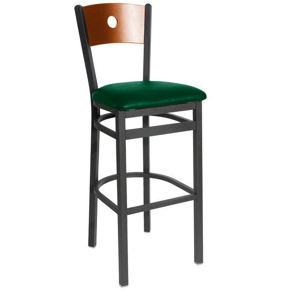 "BFM Seating 2152BGNV-CHSB Darby Sand Black Metal Bar Height Chair with Cherry Wooden Back and 2"" Green Vinyl Seat"