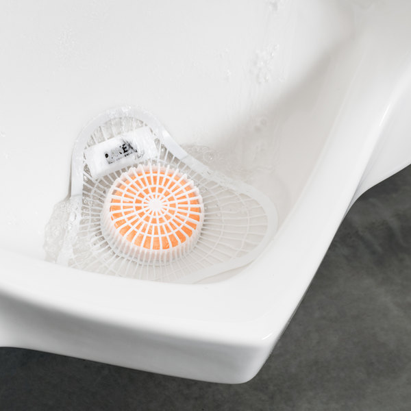 Lavex Janitorial Urinal Screen with Citrus Scented Block - 12/Pack