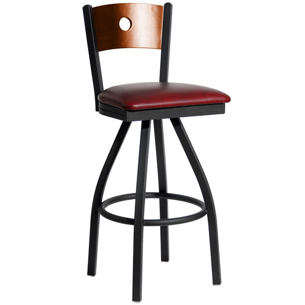 "BFM Seating 2152SBUV-CHSB Darby Sand Black Metal Bar Height Chair with Cherry Wooden Back and 2"" Burgundy Vinyl Swivel Seat"