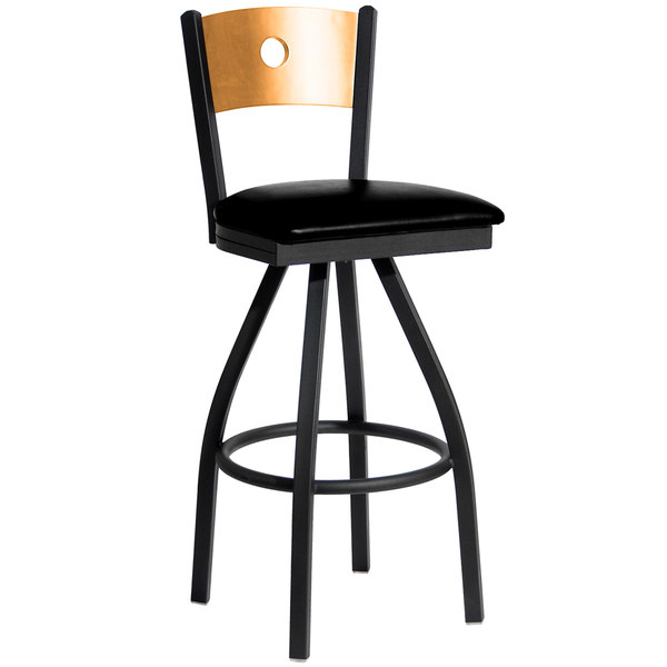 "BFM Seating 2152SBLV-NTSB Darby Sand Black Metal Bar Height Chair with Natural Wooden Back and 2"" Black Vinyl Swivel Seat Main Image 1"