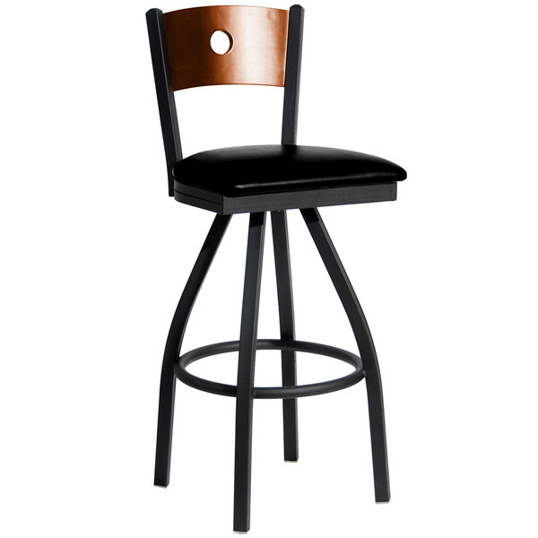 "BFM Seating 2152SBLV-CHSB Darby Sand Black Metal Bar Height Chair with Cherry Wooden Back and 2"" Black Vinyl Swivel Seat"