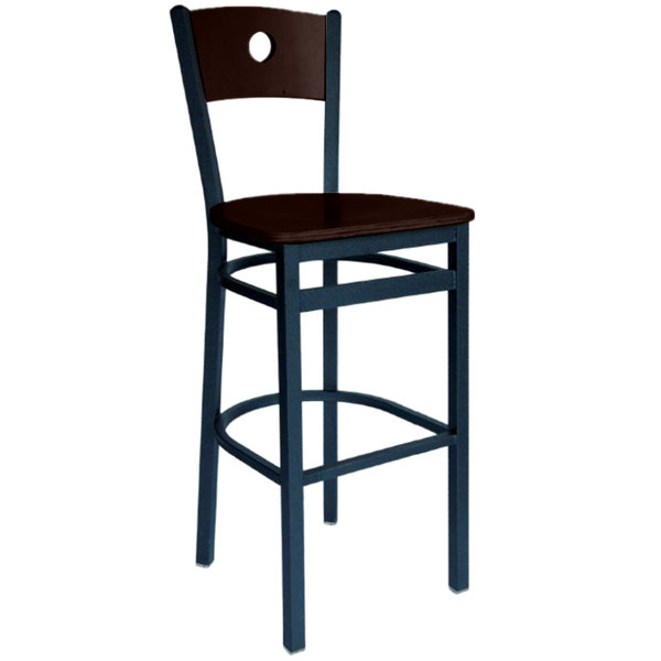 BFM Seating 2152BWAW-WASB Darby Sand Black Metal Bar Height Chair with Walnut Wooden Back and Seat