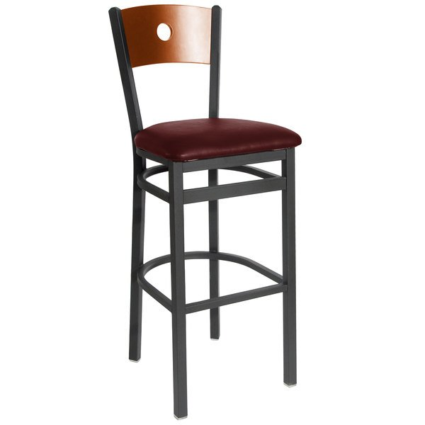 "BFM Seating 2152BBUV-CHSB Darby Sand Black Metal Bar Height Chair with Cherry Wooden Back and 2"" Burgundy Vinyl Seat Main Image 1"