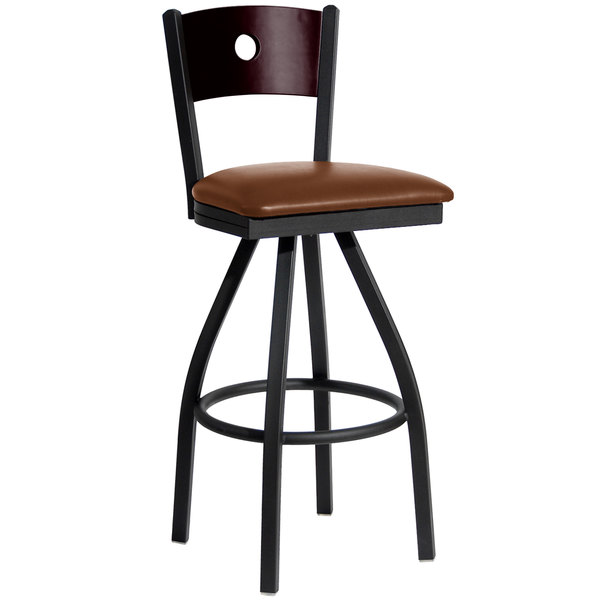 "BFM Seating 2152SLBV-MHSB Darby Sand Black Metal Bar Height Chair with Mahogany Wooden Back and 2"" Light Brown Vinyl Swivel Seat"