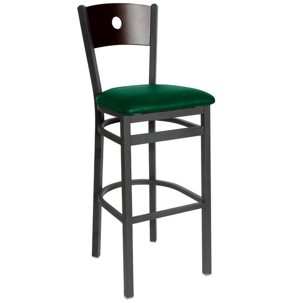 """BFM Seating 2152BGNV-WASB Darby Sand Black Metal Bar Height Chair with Walnut Wooden Back and 2"""" Green Vinyl Seat Main Image 1"""