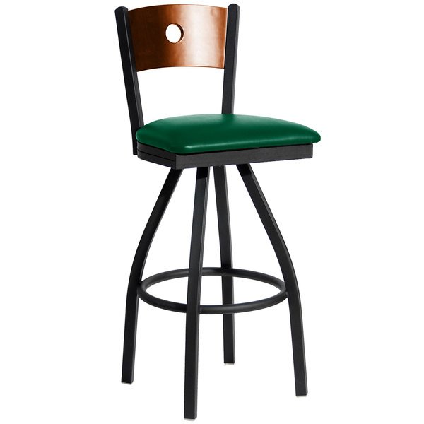 """BFM Seating 2152SGNV-CHSB Darby Sand Black Metal Bar Height Chair with Cherry Wooden Back and 2"""" Green Vinyl Swivel Seat Main Image 1"""