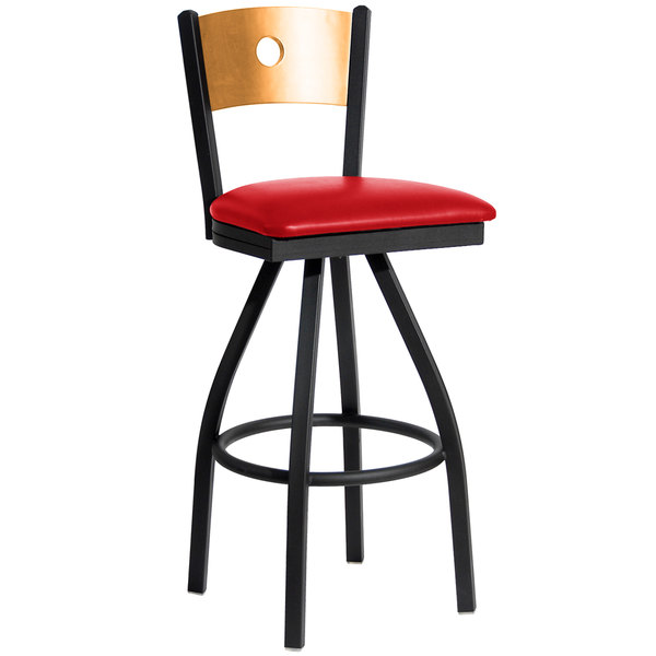 "BFM Seating 2152SRDV-NTSB Darby Sand Black Metal Bar Height Chair with Natural Wooden Back and 2"" Red Vinyl Swivel Seat"