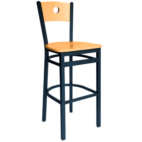 BFM Seating 2152BNTW-NTSB Darby Sand Black Metal Bar Height Chair with Natural Wooden Back and Seat Main Image 1