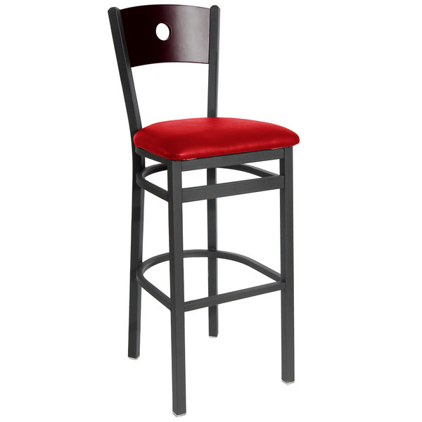 """BFM Seating 2152BRDV-MHSB Darby Sand Black Metal Bar Height Chair with Mahogany Wooden Back and 2"""" Red Vinyl Seat"""