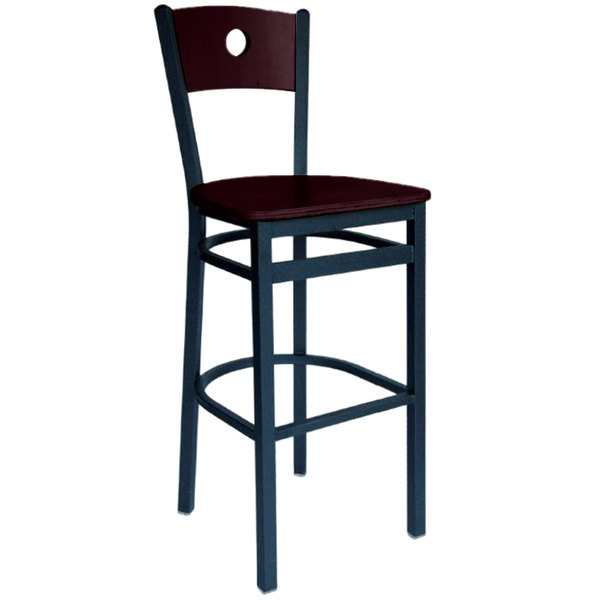 BFM Seating 2152BMHW-MHSB Darby Sand Black Metal Bar Height Chair with Mahogany Wooden Back and Seat