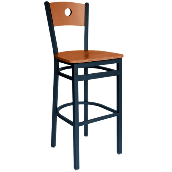 BFM Seating 2152BCHW-CHSB Darby Sand Black Metal Bar Height Chair with Cherry Wooden Back and Seat