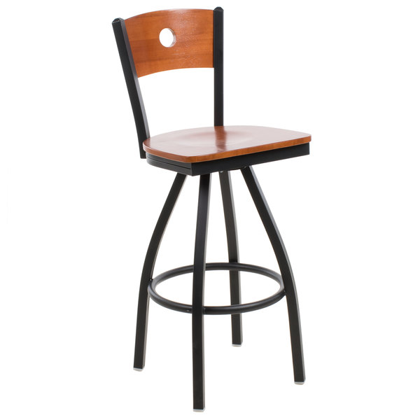 BFM Seating 2152SCHW-CHSB Darby Sand Black Metal Bar Height Chair with Cherry Wooden Back and Swivel Seat Main Image 1