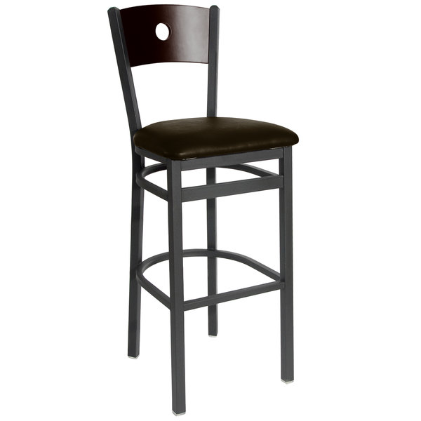 "BFM Seating 2152BDBV-WASB Darby Sand Black Metal Bar Height Chair with Walnut Wooden Back and 2"" Dark Brown Vinyl Seat"
