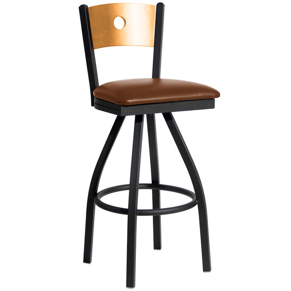 """BFM Seating 2152SLBV-NTSB Darby Sand Black Metal Bar Height Chair with Natural Wooden Back and 2"""" Light Brown Vinyl Swivel Seat"""