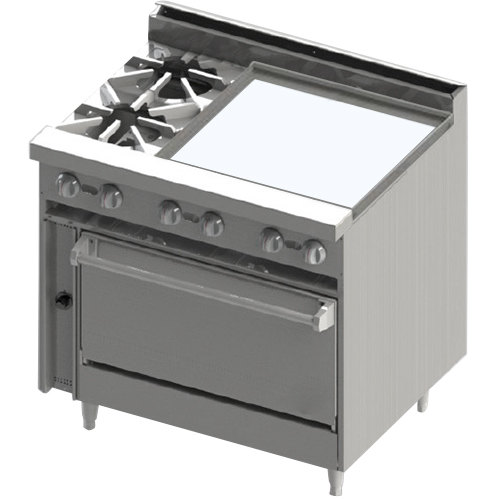 """Blodgett BR-2-24GT-36 Liquid Propane 2 Burner 36"""" Thermostatic Range with Right Side 24"""" Griddle and Oven Base - 138,000 BTU"""