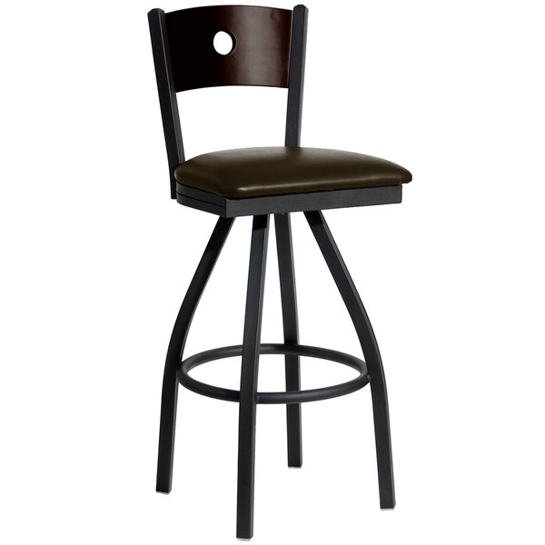 """BFM Seating 2152SDBV-WASB Darby Sand Black Metal Bar Height Chair with Walnut Wooden Back and 2"""" Dark Brown Vinyl Swivel Seat"""