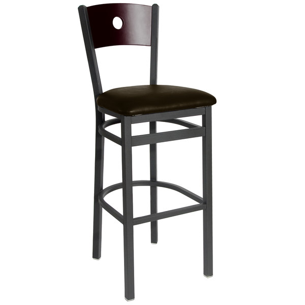 """BFM Seating 2152BDBV-MHSB Darby Sand Black Metal Bar Height Chair with Mahogany Wooden Back and 2"""" Dark Brown Vinyl Seat Main Image 1"""