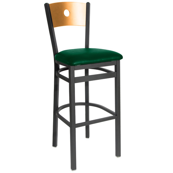 "BFM Seating 2152BGNV-NTSB Darby Sand Black Metal Bar Height Chair with Natural Wooden Back and 2"" Green Vinyl Seat"