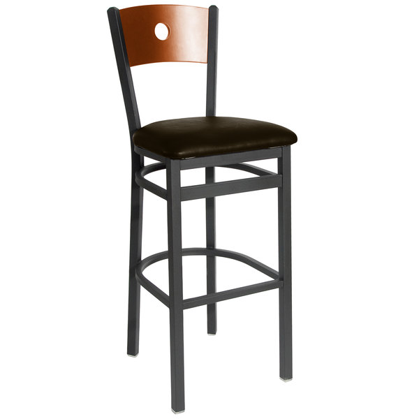 "BFM Seating 2152BDBV-CHSB Darby Sand Black Metal Bar Height Chair with Cherry Wooden Back and 2"" Dark Brown Vinyl Seat Main Image 1"