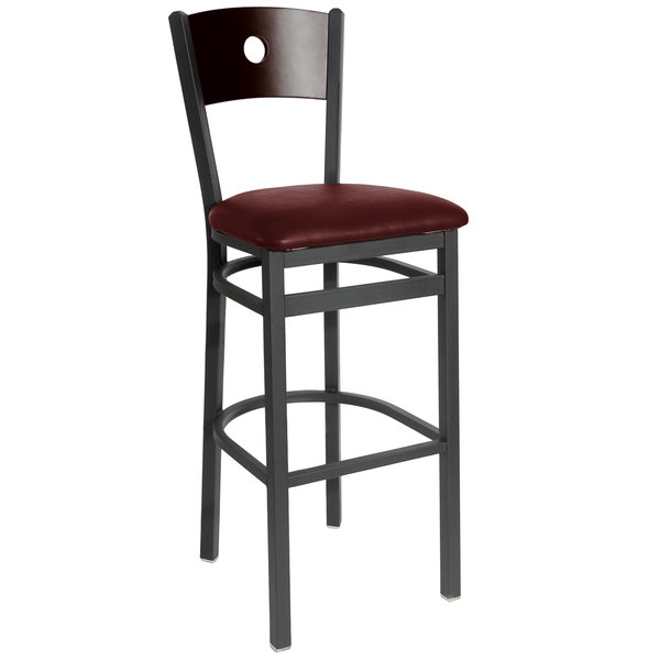 """BFM Seating 2152BBUV-WASB Darby Sand Black Metal Bar Height Chair with Walnut Wooden Back and 2"""" Burgundy Vinyl Seat Main Image 1"""