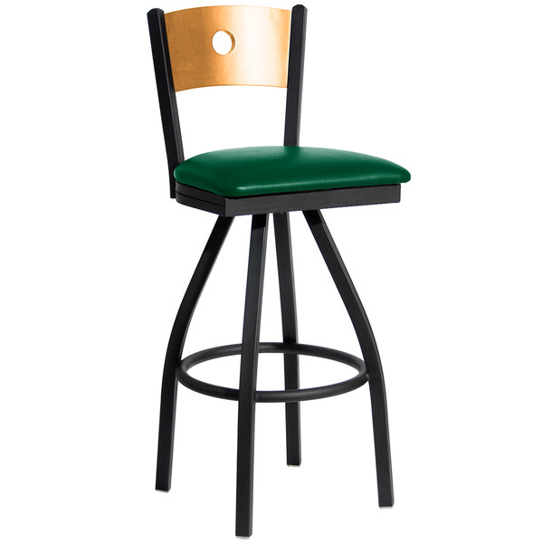 """BFM Seating 2152SGNV-NTSB Darby Sand Black Metal Bar Height Chair with Natural Wooden Back and 2"""" Green Vinyl Swivel Seat Main Image 1"""
