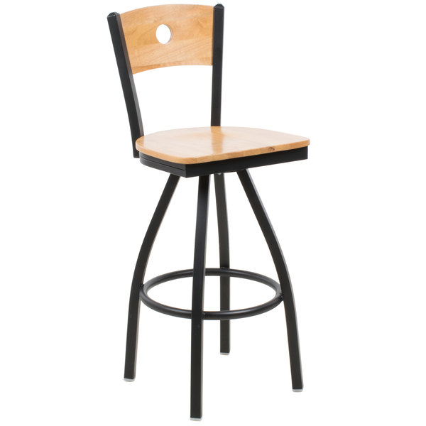 BFM Seating 2152SNTW-NTSB Darby Sand Black Metal Bar Height Chair with Natural Wooden Back and Swivel Seat Main Image 1