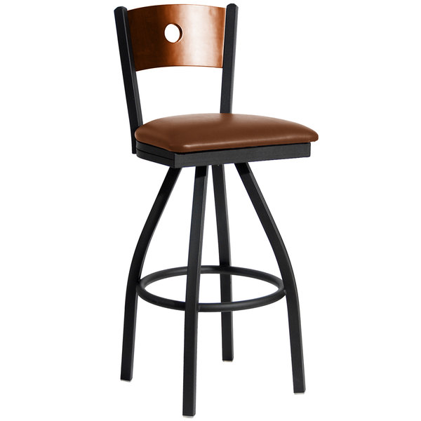 """BFM Seating 2152SLBV-CHSB Darby Sand Black Metal Bar Height Chair with Cherry Wooden Back and 2"""" Light Brown Vinyl Swivel Seat"""