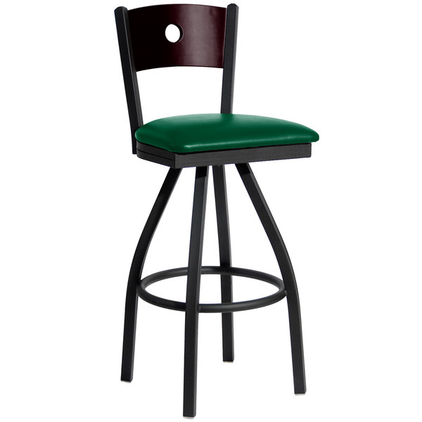 """BFM Seating 2152SGNV-MHSB Darby Sand Black Metal Bar Height Chair with Mahogany Wooden Back and 2"""" Green Vinyl Swivel Seat Main Image 1"""