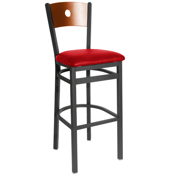 """BFM Seating 2152BRDV-CHSB Darby Sand Black Metal Bar Height Chair with Cherry Wooden Back and 2"""" Red Vinyl Seat Main Image 1"""