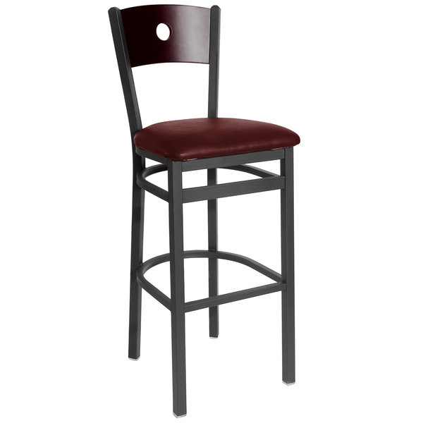 "BFM Seating 2152BBUV-MHSB Darby Sand Black Metal Bar Height Chair with Mahogany Wooden Back and 2"" Burgundy Vinyl Seat Main Image 1"
