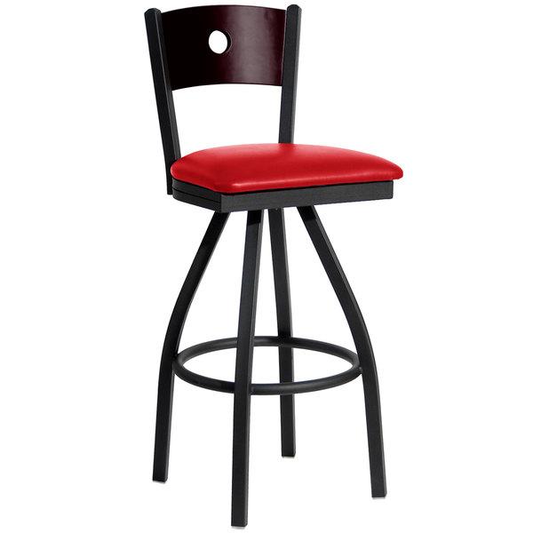 "BFM Seating 2152SRDV-MHSB Darby Sand Black Metal Bar Height Chair with Mahogany Wooden Back and 2"" Red Vinyl Swivel Seat"