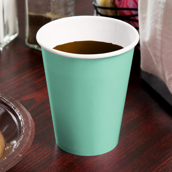 Creative Converting 318875 9 oz. Fresh Mint Green Poly Paper Hot / Cold Cup - 240/Case Main Image 2