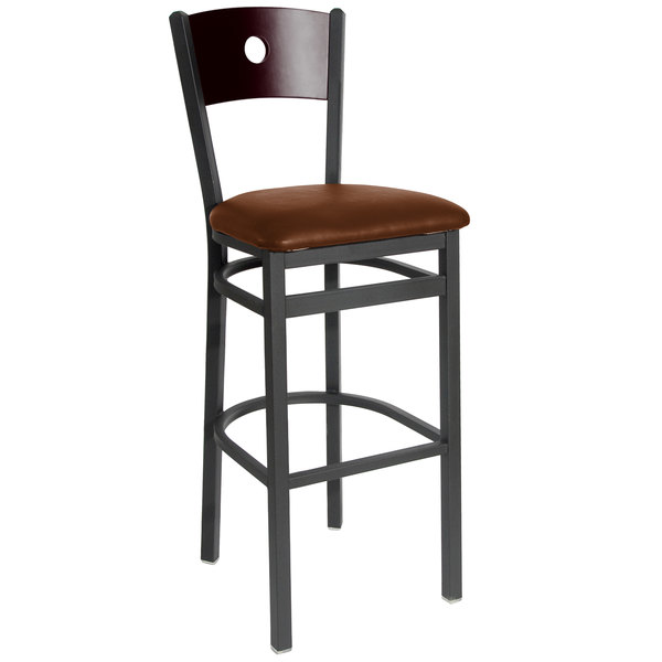 "BFM Seating 2152BLBV-MHSB Darby Sand Black Metal Bar Height Chair with Mahogany Wooden Back and 2"" Light Brown Vinyl Seat Main Image 1"