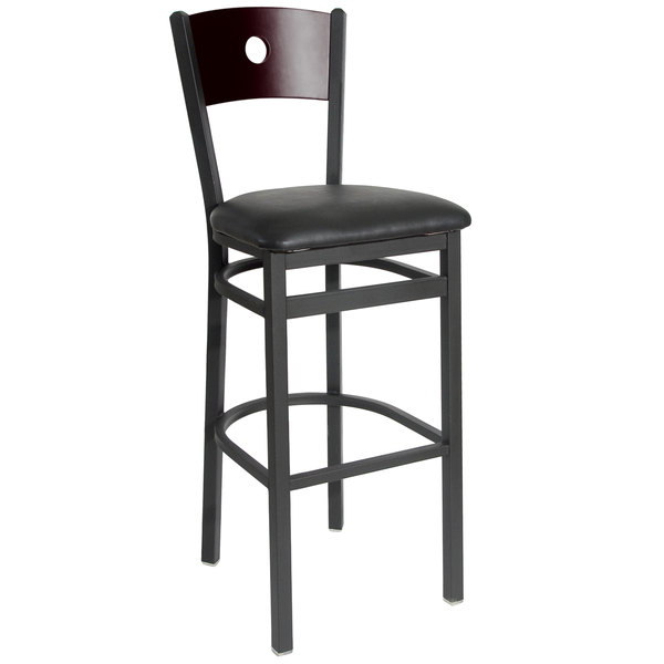 """BFM Seating 2152BBLV-MHSB Darby Sand Black Metal Bar Height Chair with Mahogany Wooden Back and 2"""" Black Vinyl Seat"""