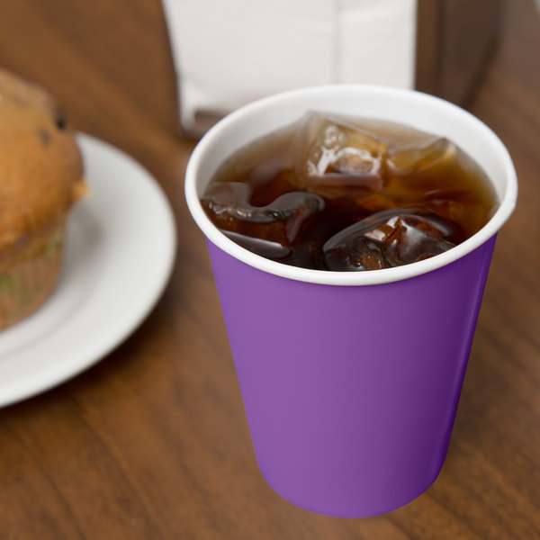 Creative Converting 318914 9 oz. Amethyst Purple Poly Paper Hot / Cold Cup - 240/Case
