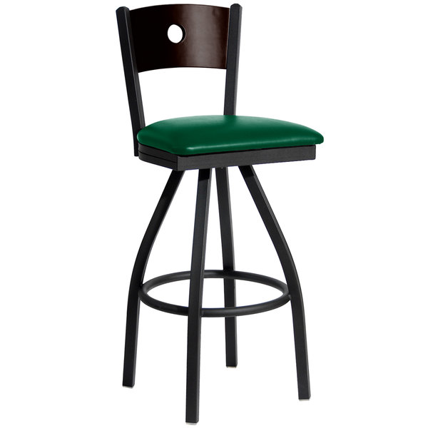 "BFM Seating 2152SGNV-WASB Darby Sand Black Metal Bar Height Chair with Walnut Wooden Back and 2"" Green Vinyl Swivel Seat"