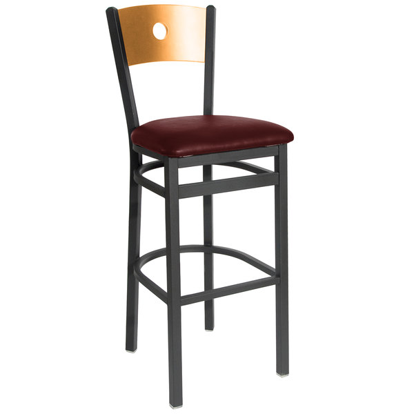 """BFM Seating 2152BBUV-NTSB Darby Sand Black Metal Bar Height Chair with Natural Wooden Back and 2"""" Burgundy Vinyl Seat Main Image 1"""