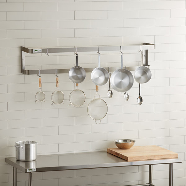 """Regency 60"""" Stainless Steel Wall Mounted Double Line Pot Rack with 18 Galvanized Double Prong Hooks Main Image 3"""