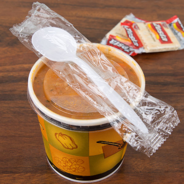 Choice Individually Wrapped Medium Weight White Plastic Soup Spoon - 100/Pack