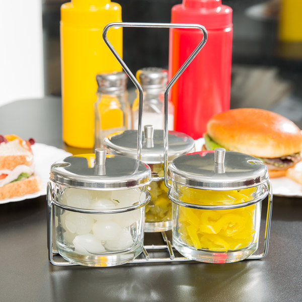 3 Compartment Wire Condiment Caddy with 7 oz Glass Jars and
