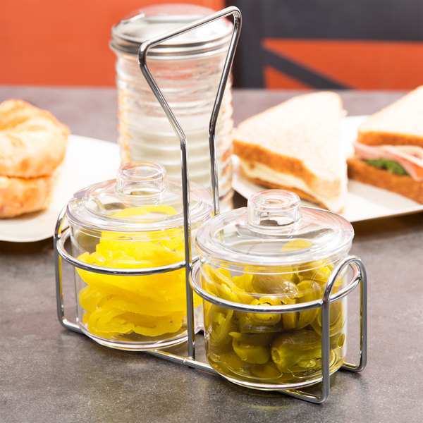 2 Compartment Wire Condiment Caddy with 7 oz. Clear Plastic Jars and Lids