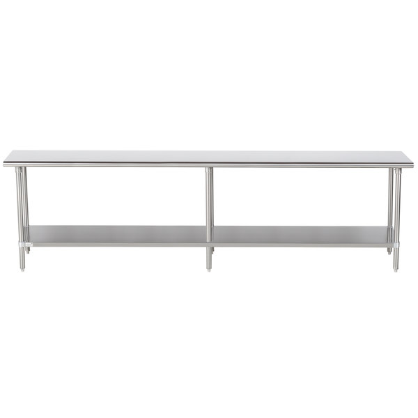 "Advance Tabco Premium Series SS-2410 24"" x 120"" 14 Gauge Stainless Steel Commercial Work Table with Undershelf"