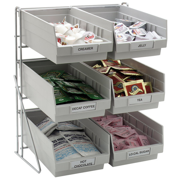 "Carlisle 381206LG 14"" x 12"" x 18"" Wire 3-Tier Packet Rack with 4 Qt. Gray Compartment Bins"