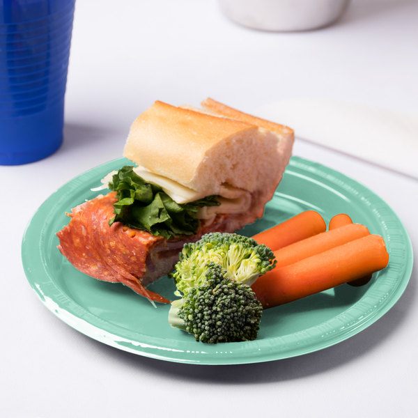 "Creative Converting 318877 7"" Fresh Mint Green Plastic Plate - 240/Case"