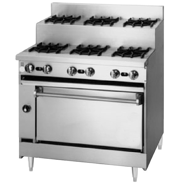 "Blodgett BRE-3-3-36C Natural Gas 6 Burner 36"" Step-Up Range with Convection Oven Base - 150,000 BTU"